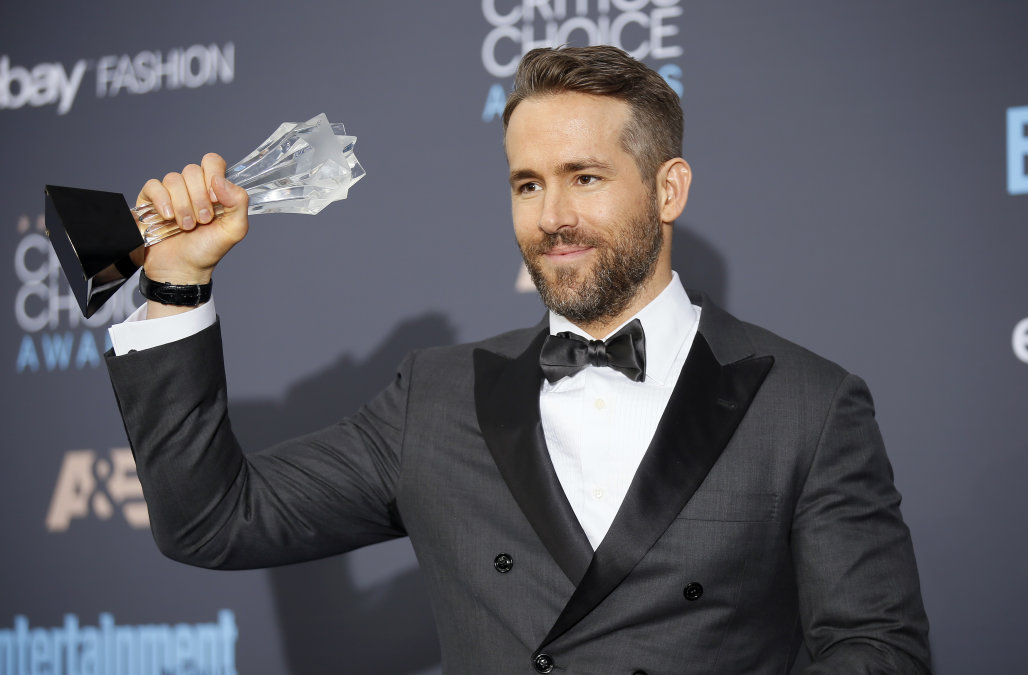 Ryan Reynolds poses with his award during the 22nd Annual Critics' Choice Awards in Santa Monica